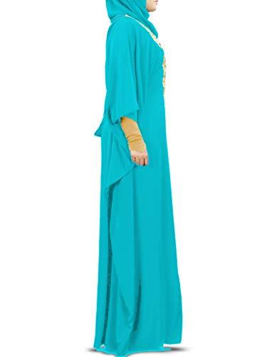 Embroidered Kaftan MyBatua Abaya 003 Turquoise Maxi Dress Gold KF Evening Fancy Womens Gown Muslim StUqwUa