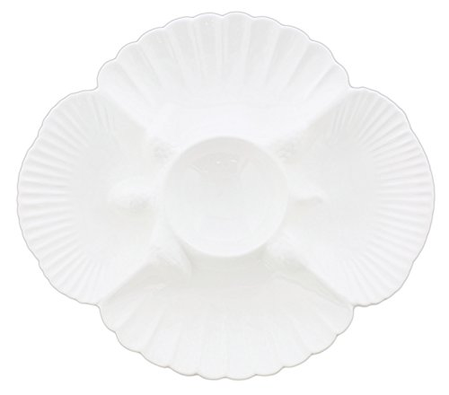 Sullivans Solid White Ceramic Sea Turtle Dishware (5 Section Serving Tray) Ceramic Divided Tray