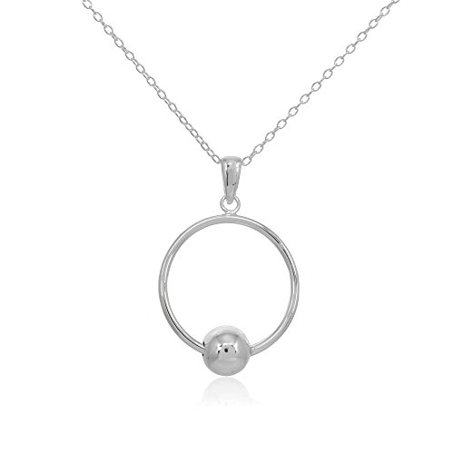 - Sterling Silver Polished Large Open Circle Bead Pendant Necklace