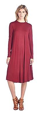 Womens Casual Long Sleeve U Neck Long Dress Top