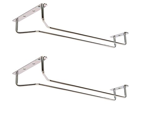 Great Credentials Set of 2-10-Inch Long, Wine Glass Rack, Wire Hanging Rack, Wine Glass Hanging Rack, Wire Wine Glass Hanger Rack, Stemware Rack, Under Cabinet, Chrome Finish (chrome)