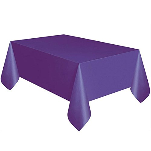 Coohole Disposable Plastic Tablecloth,6ft x 4.5ft Rectangle Table Cover (Purple)