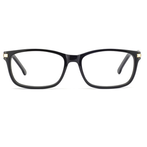 OCCI CHIARI Women Rectangle Vintage Eyewear Frame With Clear Lenses Manzo (Black, - Frames Eyewear Vintage