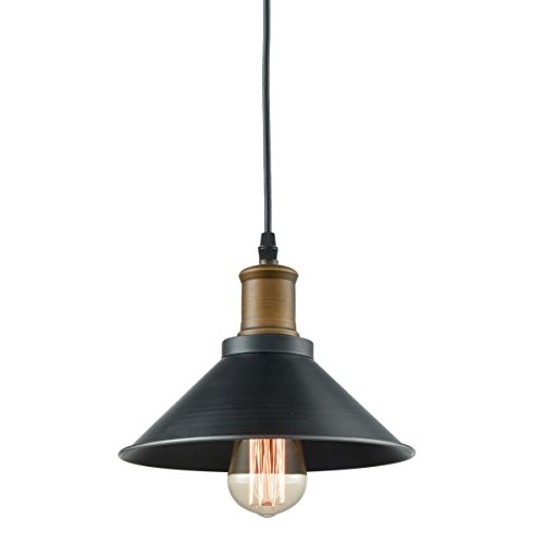 Dazhuan Industrial Ceiling Light Metal Lampshade Kitchen Hanging Lamp Black Farmhouse Pendant Light Fixture, 22CM, 1-Light