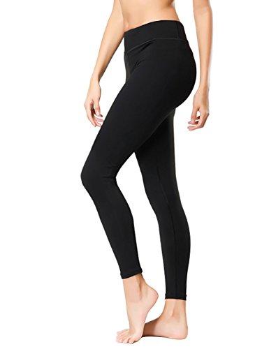 KUBEER Yoga Pants Yoga Capris Leggings Workout Running Sports Tummy Control Shapewear Black