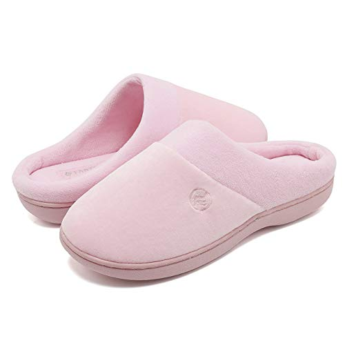 CIOR Fantiny Women's Memory Foam Slippers Terry Slip-on Clog Scuff House Shoes Indoor & Outdoor Arch Support-U118WMT025-pink-42.43
