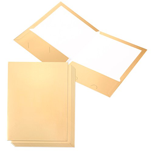 Pack of 6 Gold Pocket Folders - Twin Pocket Paper Folders with 2 Business Card Slots, Gold, 12.5 x 9.5 Inches
