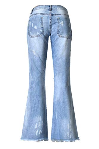 Las Fit Stretch Slim Moda Mezclilla Blau Botón De La Pantalones Acampanados Huixin Rasgada Mujeres Libre Casuales Aire Al Vaqueros Borla Delanteros vqWg0BxtPw
