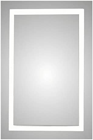 Frameless Backlit LED Lighted Mirror, Frosted Rectangle Design with On Off Switch and Defogger Pad, 18 inch by 36 inch AMZL4011