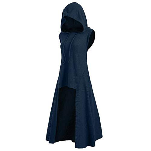 Top Cosplay Sites (Sunhusing Women's Solid Color Sleeveless Retro Style Drawstring Hooded Jacket Irregular Hem Cosplay Hoodie Top)
