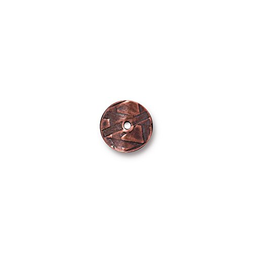 (TierraCast Wavy Disc, 10mm, Antiqued Copper Plated Pewter)