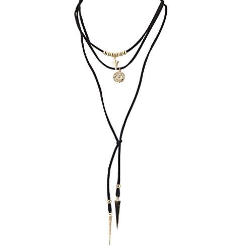 Lux Accessories Goldtone Black Suede Cord Boho Lariat Choker (Gold Tone Black Cord)