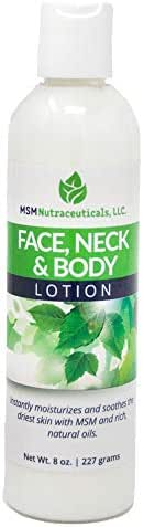 Purified OptiMSM in Odor-Free Quick Absorbing Face Neck and Body Lotion 8oz 20% Optimsm Highest Concentration of Any MSM Lotion on The Market by MSM Health Solutions