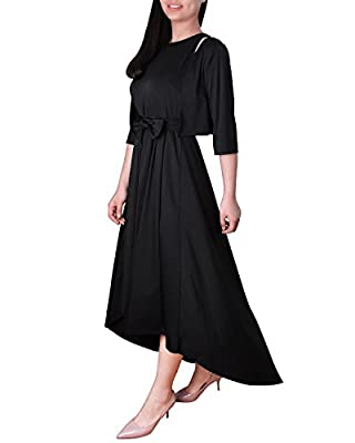 HIUPEB Women's Belted Asymmetric Hem High Low Maxi Dress and Cardigan S-2XL