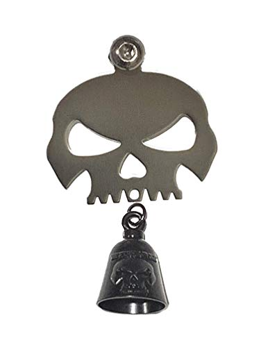 (Kustom Cycle Parts Universal Polished Skull Bell Hanger With Bell - Bolt and Ring Included. Fits all Harley Davidson Motorcycles & More! Proudly MADE IN THE USA! (Gloss Black Bell))