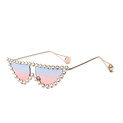 Naimo Sparkling Crystal Cat Eye Sunglasses UV Protection Metal Frame