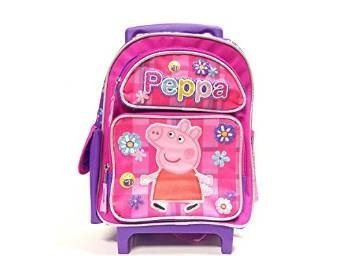 Peppa Pig Large Rolling Backpack Allover Flower Pink New 122281