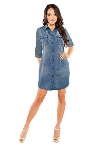 jean button up dress - 1