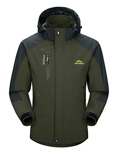 MAGCOMSEN Mens Ski Jacket Snowboard Coat Windproof Windbreaker Jacket Raincoats for Men Green ()