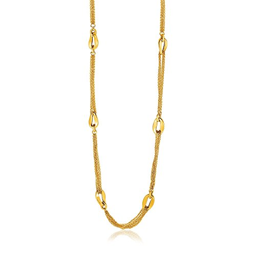 Jewels By Lux 14K Yellow Gold Curved Oval Link and Multi-Strand Cable Chain Necklace