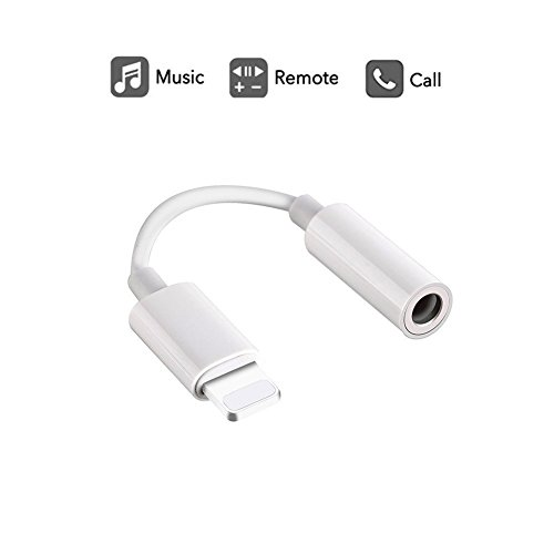 Lightning to 3.5 mm headphone jack adapter,accessories for iphone 7,iphone 7 plus, iphone 8, headphone adapter iphone 8 plus, apple iphone X adapter (White, Original)