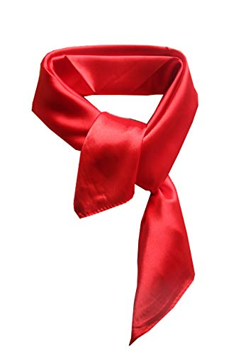 Silk square scarf pure color head scarf blend neckerchief (Red)