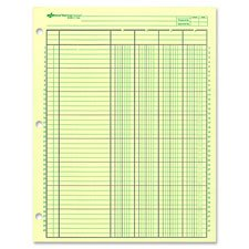 Analysis Pad, 13 Column, 3 Hole, 2-1/4''W, 11''x16-3/8'', Green, Sold as 1 Pad, 50 Each per Pad
