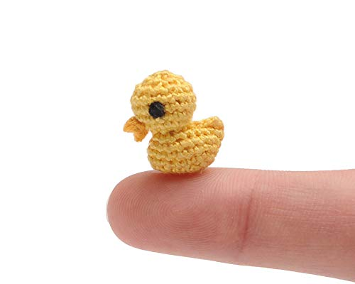 DaoOfThao Micro Tiny Miniature Yellow Duck Plush Toy Handmade Amigurumi Crochet Animal