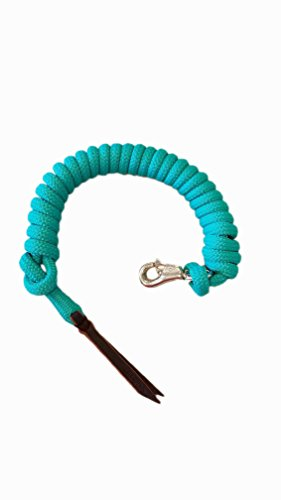 """Knotty Girlz Premium 9/16"""" Double Braid Polyester Yacht Rope Horse Lead Rope Natural Horsemanship w/Loop or Snap 12ft. or 14ft. Lengths (Turquoise, 14 ft. w/Hitched in Stainless Steel Trigger Bull)"""