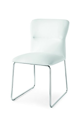 Connubia Frida Upholstered Chair with Metal Stained Chrome Frame & Skuba Optic White - Calligaris Chair Metal
