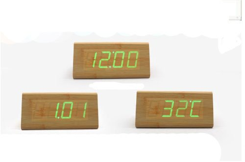 Idealer Fashion Bamboo Triangle Green LED Wooden Imitation Clock Digital Wood Alarm Clock Desktop Temperature Time Display Voice and Touch Activated