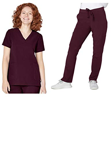 (Adar Addition Scrub Set for Women - V-Neck Scrub Top & Skinny Cargo Scrub Pants - A9200 - Merlot - M)