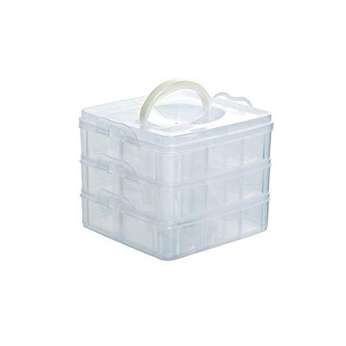 Caja de almacenamiento de plástico ajustable de 3 capas con 18 rejillas, para joyas, joyas, joyas, organizadores de maquillaje, Verde, Una tall