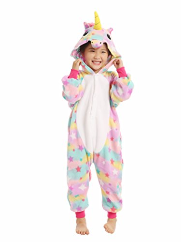 BELIFECOS Pink Star children Unicorn Cosplay Costume Onesie Pajamas For Girls 125