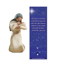 (Mary Individual Willow Tree Nativity Figurine with Nativity Bookmark)