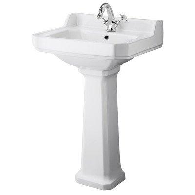 NCS884A - Carlton 560mm Basin 1TH / NCS883 - Carlton Full Pedestal Pebble Grey