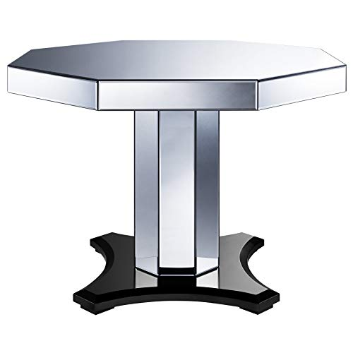 Dining Room Mirrored Pedestal - Pulaski DS-D114-DR-K1 Smoked Mirrored Octagon Top Table, Silver