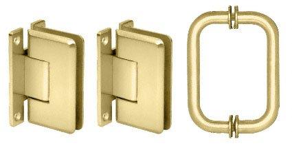 CRL Polished Brass Cologne Shower Pull and Hinge Set