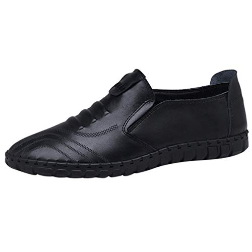 (TIFENNY Leisure Suit Shoes for Men Solid Color Flat Shoes Slip-On Round Toe Business Shoes Single Shoes 2019 New Black)