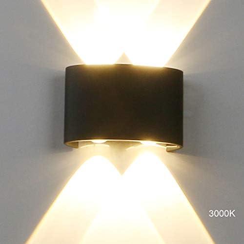 Yosoan LED-Wandleuchte Up&Down Wandleuchte Außenwandleuchte inkl. 4x 1W warmweiß Lichtstrahl Leuchtmittel Außenleuchte Außenlampe Wandlampe für Innen und Außen (1W 3000K)