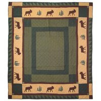 Patch Magic Queen Cedar Trail Quilt, 85-Inch by 95-Inch Moose Trail Lodge