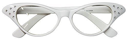 Flirting with the 50's Rhinestone Cat Eye Glasses (White)