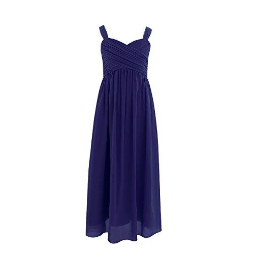 Bust Dress - FEESHOW Kids Big Girls Ruched Bust Chiffon Junior Bridesmaid Dress Wedding Party Gown Navy Blue 12