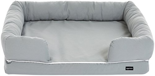 AmazonBasics Medium Pet Dog Sofa Bolster Lounger Bed - 36 x 29 x 9 Inches, Grey
