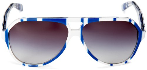 Dolce & Gabbana Mens 4182p Stripes Special Project Stripes Blue / White Frame/Grey Gradient Lens Plastic Sunglasses