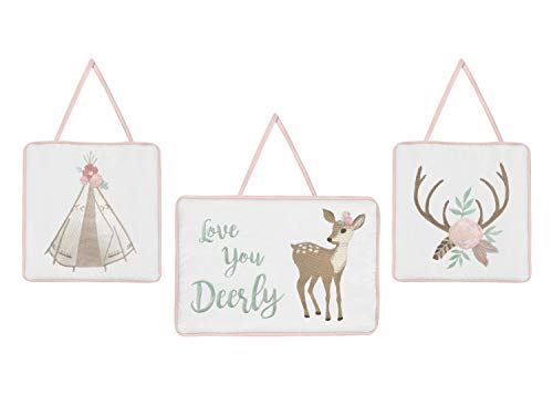 Sweet Jojo Designs Blush Pink, Mint Green and White Boho Wall Hanging Decor for Woodland Deer Floral Collection - Set of 3