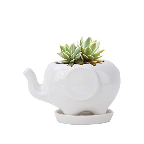 Vencer Cute Ceramic Elephant Pot with Saucer Tray,Desktop Planter,Large,White,VF-002L
