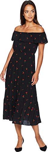 American Rose Women's Lillie Off The Shoulder Cherry Dress Black/Red Medium