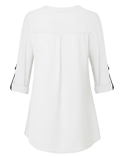 Timeson White Blouses for Women, Womens V Neck Shirts 3/4 Roll Sleeve Chiffon Blouse for Casual Business Work Loose Fit Dressy Tunics Blouses Shirt Tops for Junior White XX-Large by Timeson (Image #2)