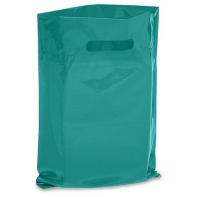NEW - Extra Thick 1.5mil - 50 Glossy Merchandise Bags, Retail Shopping Bags, 9'' X 12'' with Die Cut Reinforced 3'' Fold Over Handle, No Gusset (Turquoise) by Brilliant Bag Co